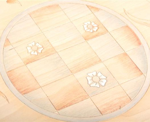 Tulip and Daisy design on a large storage box.