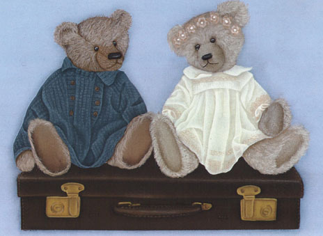 Painting of bears on a suitcase